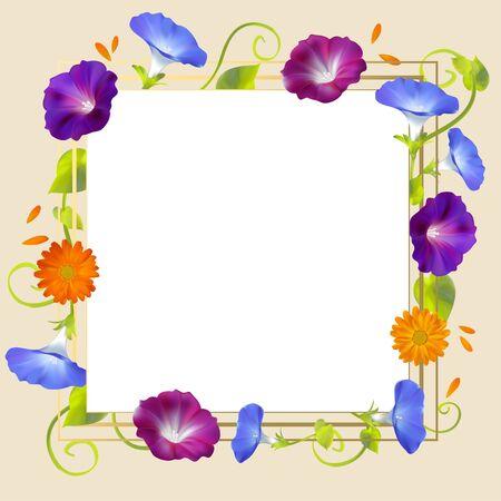 Flowers. Convolvulus. Bindweed. Floral background. Crocheted plants. Frame. Border. Card. Vector illustration. Ilustrace