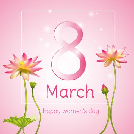 March 8. Lotus. International Women's Day. Congratulation. Holidays. Card. Vector illustration. Ilustrace