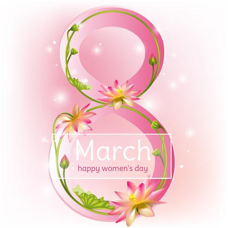 March 8. Lotus. International Women's Day. Congratulation. Holidays. Card. Vector illustration. Vettoriali
