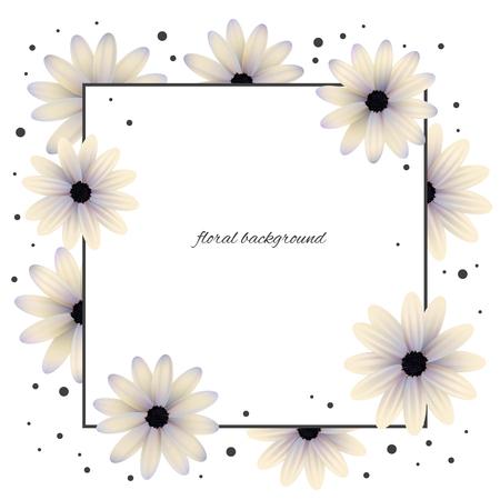 Flowers. Daisies. Floral background. Frame. Wreath. Gerberas. Card. Plants. Flora. Vector illustration.