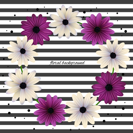 Floral wreath background can be use for frames and cards. Gerberas, daisies, plants, flora vector illustration.