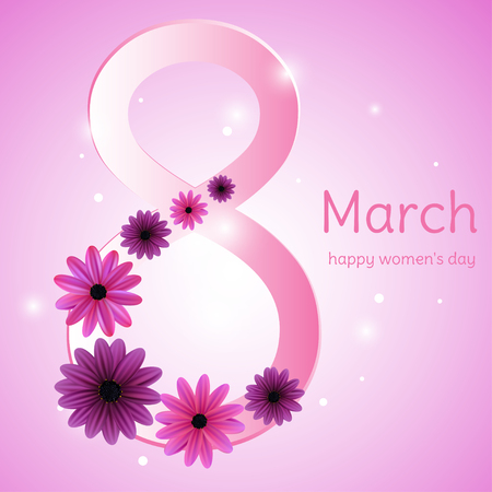 March 8. Flowers. Women's Day. Festive vector illustration. Floral background. Congratulation. Card.