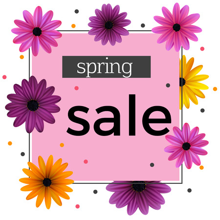 Sale. Discounts. Flowers. Daisies. Floral background. Gerberas. Advertising. Plants. Flora. Vector illustration. Frame. The announcement.
