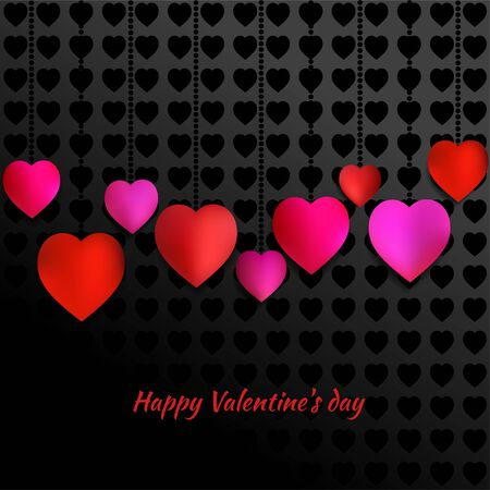 Valentine's Day. Red heart. The holiday of lovers. Vector illustration. Card. Congratulation. Template. Ilustrace