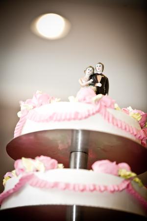 pink white wedding cake couple on top