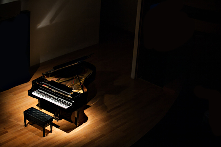 piano music keyboard instrument keys play musical black sound key playing white pianist concert musician grand classical hand antique organ synthesizer dark room show showtime exhibition display