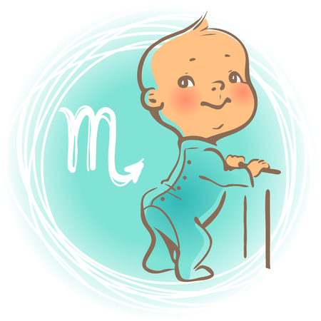 Children horoscope icon. Kids zodiac. Cute little baby boy or girl as Scorpio astrological sign. Kid wearing jumpsuit. Colorful illustration. Astrological symbol as cartoon character. Ilustração