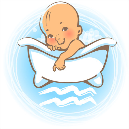little girl bath: Children horoscope icon. Kids zodiac. Cute little baby boy or girl as Aquarius astrological sign. Colorful illustration. Baby swimming in bath. Astrological symbol as cartoon character. Illustration