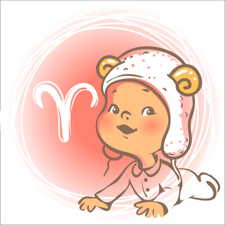 Children horoscope icon. Kids zodiac. Cute little baby boy or girl as Aries astrological sign. Funny animal hat with horns. Colorful illustration. Astrological symbol as cartoon character.