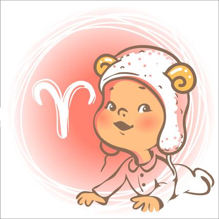 Kinderen horoscoop icoon. Kids dierenriem. Cute little baby jongen of meisje als Aries sterrenbeeld. Grappig dier hoed met hoorns. Kleurrijke illustratie. Astrologisch symbool als stripfiguur.