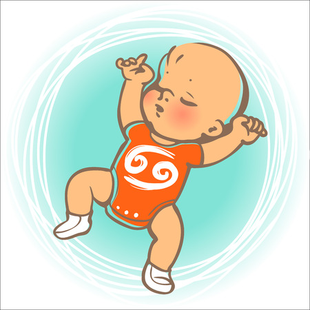 girl sleep: Children horoscope icon. Kids zodiac. Cute little baby boy or girl as Cancer astrological sign. Baby sleeping on back. Colorful illustration. Astrological symbol as cartoon character.