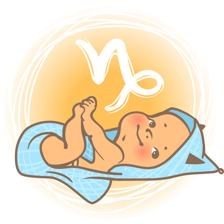 blanket: Children horoscope icon. Kids zodiac. Cute little baby boy or girl as Capricorn astrological sign. Baby lying in the blanket. Colorful illustration. Astrological symbol as cartoon character.