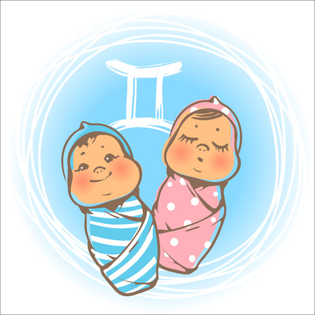twins: Childrens horoscope icon. Kids zodiac. Cute little baby boy and girl as Gemini astrological sign. Newborn baby twins. Colorful illustration. Astrological symbol as cartoon character. Illustration