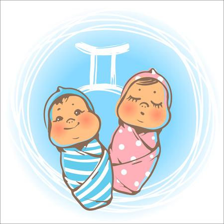 gemelos niÑo y niÑa: Horoscope icono infantil. Zodiaco Kids. Pequeño bebé lindo y muchacha como Géminis signo astrológico. Gemelos del bebé recién nacido. Ilustración colorida. Símbolo astrológico como personaje de dibujos animados.