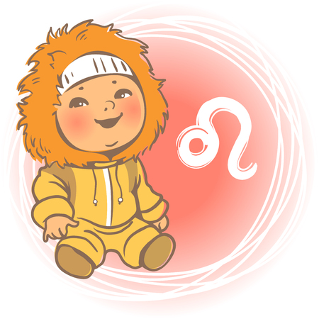 signs of the zodiac: Children horoscope icon. Kids zodiac. Cute little baby boy or girl as Leo astrological sign. Colorful illustration. Kid in yellow overalls with fur. Astrological symbol as cartoon character. Illustration