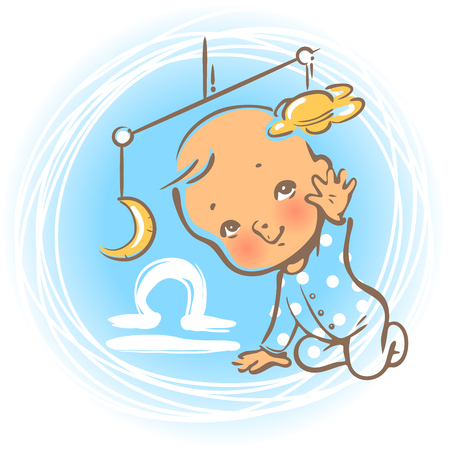 cartoon moon: Children horoscope icon. Kids zodiac. Cute little baby boy or girl as Libra astrological sign. Kid playing with hanging toys. Colorful illustration. Astrological symbol as cartoon character.