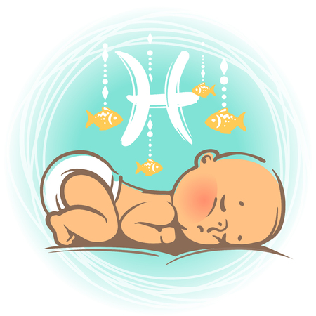astrology signs: Children horoscope icon. Kids zodiac. Cute little baby boy or girl as Pisces astrological sign. Colorful illustration. Newborn baby sleeping. Astrological symbol as cartoon character. Illustration