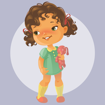 baby illustration: Vector portrait of cute little girl with curly brown hair wearing green dress holding teddy bear. Kid playing with toy. Happy child. Illustration