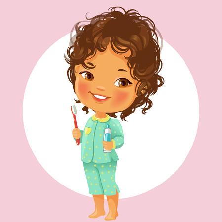 Vector portret van schattig klein meisje klaar om tanden te poetsen in de ochtend. Pyjama, houdt tandenborstel en tandpasta. Glimlachend schoolmeisje met bruin krullend haar geïsoleerd op een witte achtergrond.
