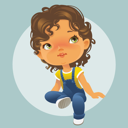 kinder garden: Vector portrait of cute little girl sitting looking up. Schoolgirl with brown curly hair wearing blue jeans jumpsuit. Isolated on white background