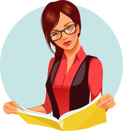 reads: Portrait of brunette woman reading book. Beautiful woman wearing glasses reading newspaper. Vector illustration of student learning. Business woman in black and red costume looking for information.