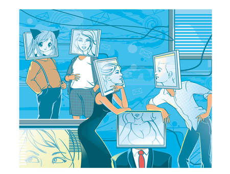 sociedade: Pessoas com cabeças de computador comunicar on-line. espaço web. Realidade virtual. Avatar no monitor. Cara como ícones da web. ilustração do vetor.