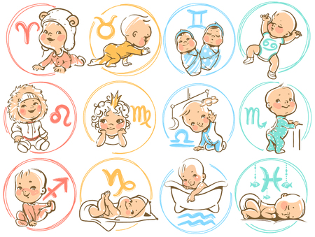 Set of zodiac icons. Horoscope signs as cartoon characters. Cute baby boys and girls as astrological symbol. Colorful vector illustration. Baby in diaper, crawling, sitting, smiling, sleeping baby