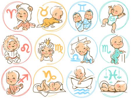 niemowlaki: Zestaw ikony zodiakalny. Horoskop znaki jak postaci z kreskówek. Śliczne Chłopcy i dziewczęta jak astrologicznych symboli. Kolorowych ilustracji wektorowych. Baby w pieluchy, czołganie się, siedząc, uśmiech, dziecko śpi