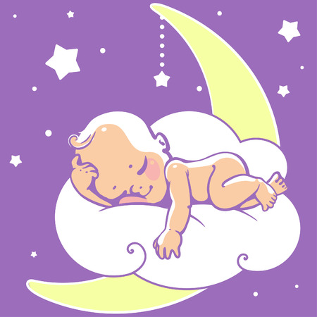 Cute little baby sleeping on moon. Colorful vector illustration. Smiling cartoon kid lying on cloud as soft pillow. Child resting at night. Kid sleeping on stomach Baby shower card. Vectores