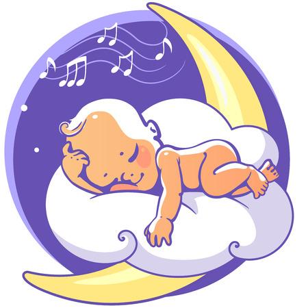 Schattige kleine baby slapen op de maan luisteren slaapliedje. Kleurrijke vector illustratie. Lachende cartoon jongen liggend op wolk als zacht kussen. Kind rusten 's nachts. Kid slapen op de buik van de baby shower kaart.