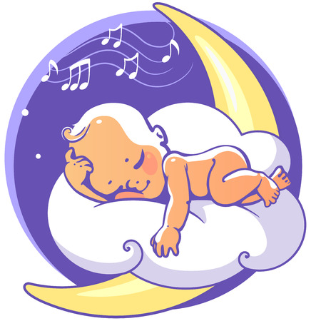 Cute little baby sleeping on moon listen lullaby. Colorful vector illustration. Smiling cartoon kid lying on cloud as soft pillow. Child resting at night. Kid sleeping on stomach Baby shower card. Illustration