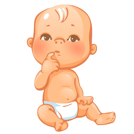 Portrait of curiuos little baby  in diaper sitting, thinking.; Expression of curiousity and interest, Baby emotions. Colorful vector illustration on white background. Illustration