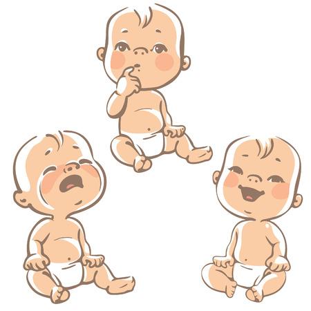 caras emociones: Conjunto de iconos de la emoción bebé. Dibujos animados pequeños bebés en pañales, el llanto del bebé, el bebé sonriente, curioso. Vector lineas ilustrativa sobre fondo blanco. Vectores