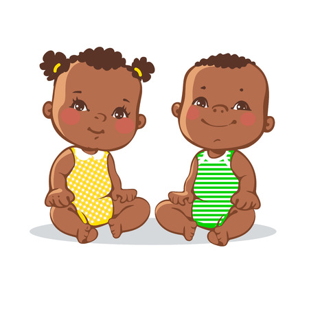Smiling toddler boy and girl sitting. Portrait of happy smiling kids. Dark skin, black eyes. African american children. Colorful illustration on white background