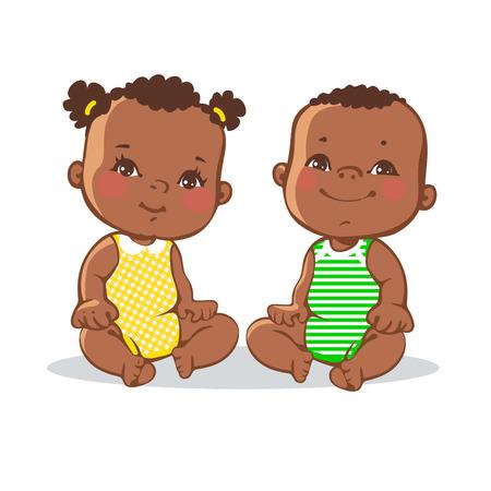 garcon africain: Sourire tout-petit gar�on et fille assise. Portrait des enfants sourire heureux. Une peau fonc�e, yeux noirs. enfants am�ricains africains. illustration color�e sur fond blanc Illustration