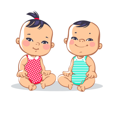 Sonriendo niño chico y chica sentada. Retrato de niños sonrientes felices. Los niños asiáticos. Ilustración colorida en el fondo blanco Ilustración de vector
