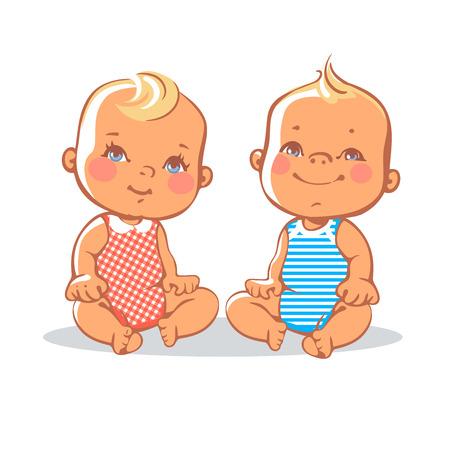 gemelos niÑo y niÑa: Sonriendo niño chico y chica sentada. Retrato de niños sonrientes felices. ojos azules, rubia. Los niños europeos. Ilustración colorida en el fondo blanco