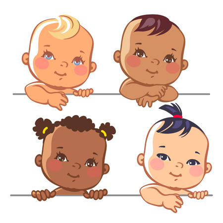 latin americans: Smiling cartoon baby girls.  Multinational baby portrait. Multi-ethnic set of four babies. Different nationalities. illustration for banner or package.