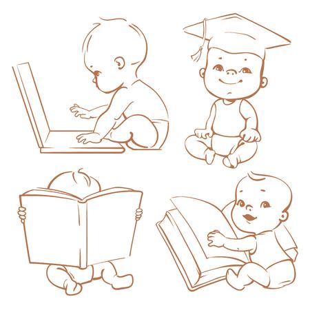 Set mit Genie Babys in Windeln. Netter Junge Lesebuch. Kleinkind in der graduierten Kappe. Baby mit dem Computer. Konzept der Entwicklung der Fähigkeiten des Kindes und der Investition in die Zukunft von Baby Standard-Bild - 52237340