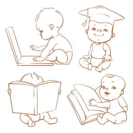 Set with genius babies in diapers. Cute boy reading book. Toddler in graduate cap. Baby with computer. Concept of  development of abilities of child and investment in the future of baby Ilustração