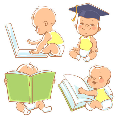 Set with genius babies in diapers. Cute boy reading book. Toddler in graduate cap. Baby with computer. Concept of development of abilities of child and investment in the future of baby