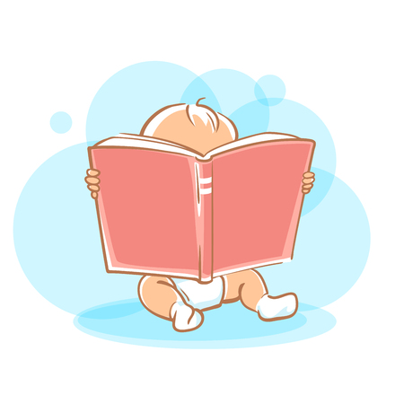 Genius baby in diaper holding open book, looking for answer. Toddler boy read sitting on floor.  Concept of  development of abilities of child and investment in the future.