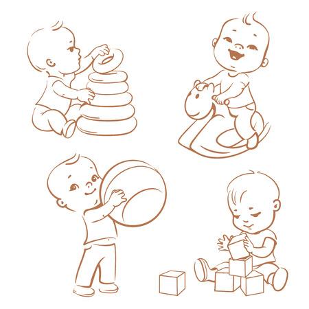Los niños juegan con los juguetes. Poco niño montado en un caballo de madera. Kid con la pirámide, muchacho que sostiene un balón. Bebé construye una casa con cubos. juguetes para niños y juegos. estilo incompleto monocromo, contorno ilustración. Ilustración de vector