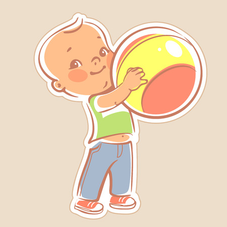 Little boy holding bright ball. l Kid with a toy. Smiling baby boy in bright clothes, jeans and t-shirt.  Happy toddler playing a game. Illustration