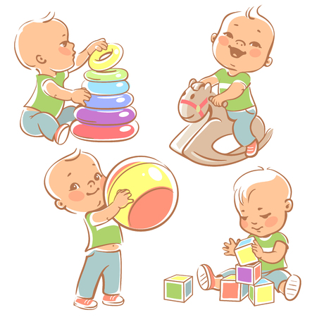 bebes: Los niños juegan con los juguetes. Poco niño montado en un caballo de madera. Kid con la pirámide, muchacho que sostiene un balón. Bebé construye una casa con cubos. Juguetes y juegos para niño de un año. Ilustración colorida.