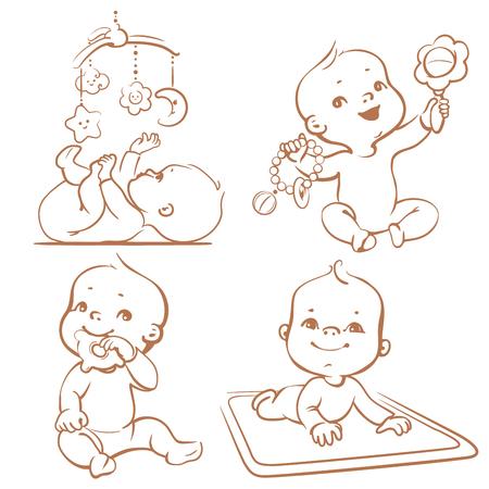 Définir des bébés jouant jouets. jeux de première année. Bébé tenir dentition jouet. Bébé couché sur le développement de tapis de jeu pour bébé regarder jouet mobile. monochrome Sketchy vecteur Illustration isolé sur fond blanc Vecteurs