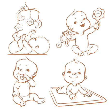 Set of babies playing toys. First year games. Baby hold teething toy. Baby lay on developing play mat  Baby look  at mobile toy. Sketchy monochrome vector Illustration isolated on white background