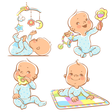 Set of babies playing toys. First year games. Baby hold teething toy. Baby lay on developing play mat  Baby look  at mobile toy.Colorful vector Illustration isolated on white background