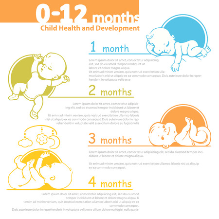 girl sleep: Set of child health and development icon.  Presentation of baby growth from newborn to toddler with text.