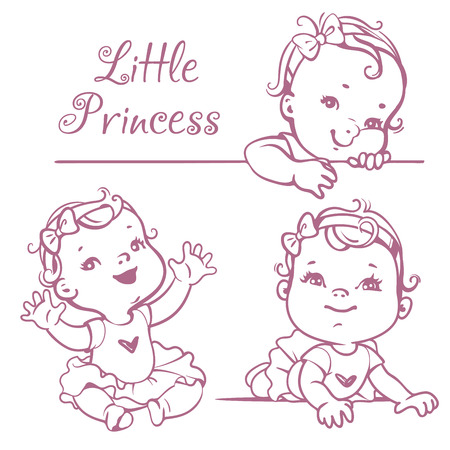 Set with cute little baby girl with curly hair, wearing bow, pink tutu. Portrait of happy smiling child one year old. Little princess sitting, lying, smiling. Monochrome sketchy vector illustration.